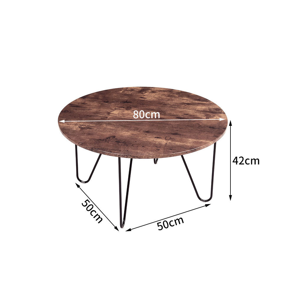 80cm Round Wooden Coffee Table Low Tea End Table