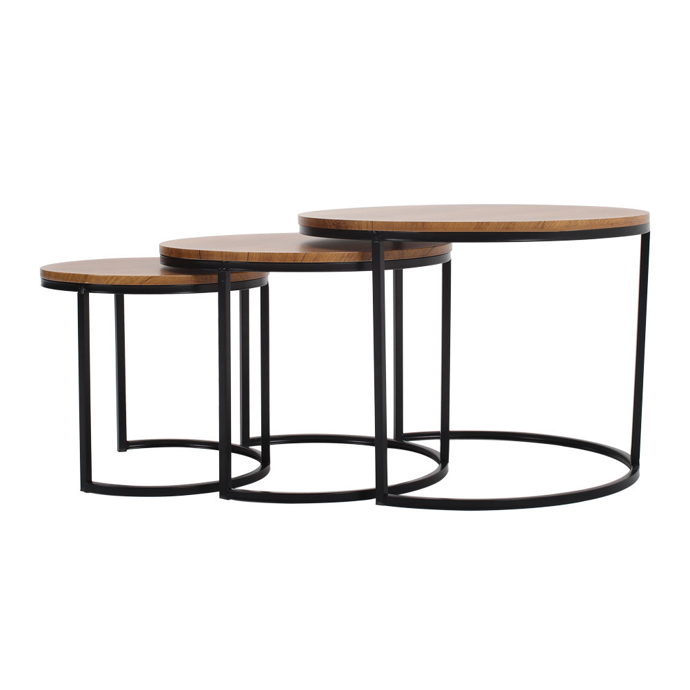 3 Pieces Nest of Tables Industrial Round Nesting Coffee Tables