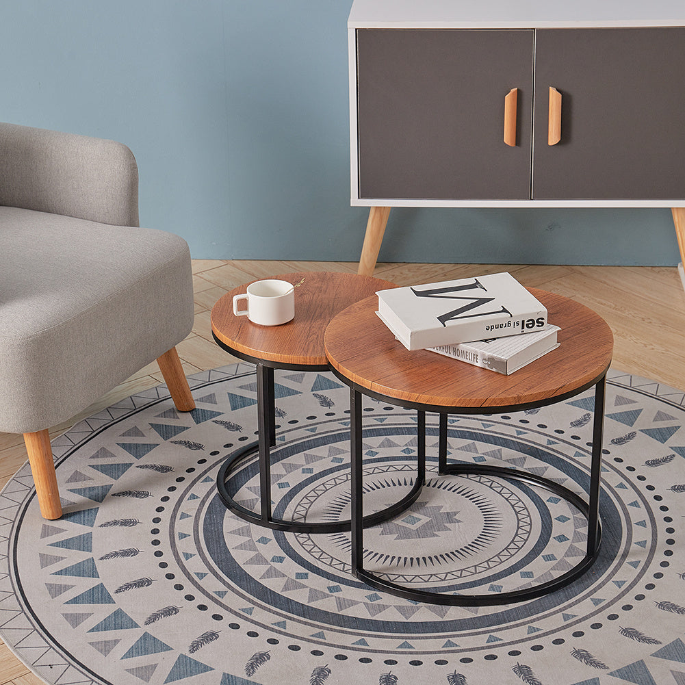 Set of 2 Industrial Nesting Tables Round Nest of Tables