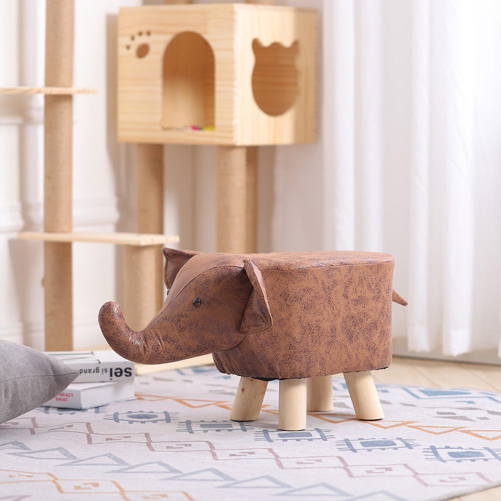 Cute Animal Shape Footstool Upholstered Kids Ottoman Pouffe Bedroom Playroom