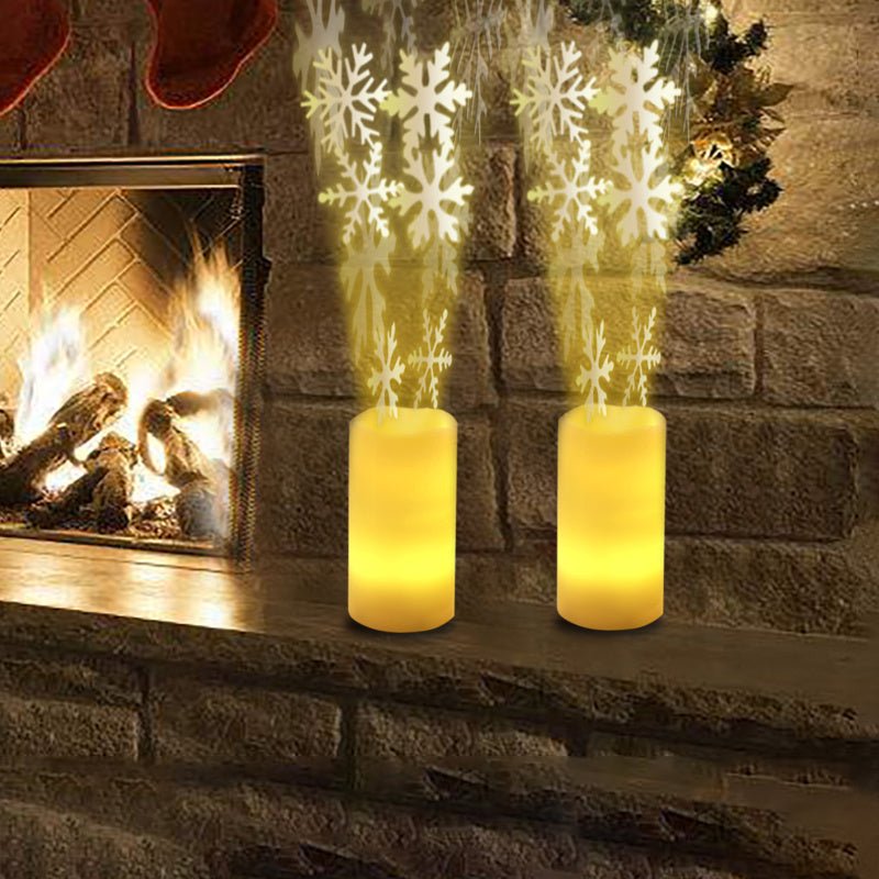 LED Flameless Pillar Candle Light Night Light Snowflake Projection 4 Timing Mode