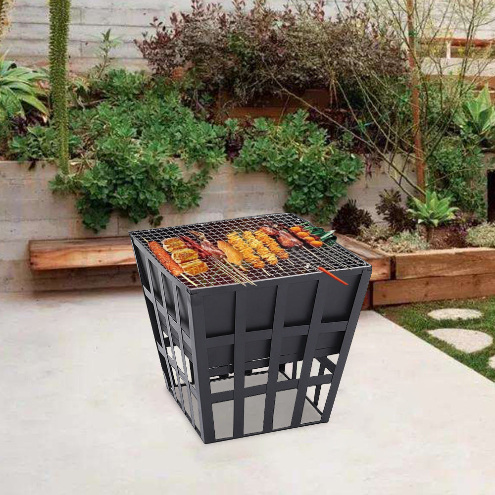 Square Outdoor Garden BBQ Heater Fire Pit Charcoal Grill