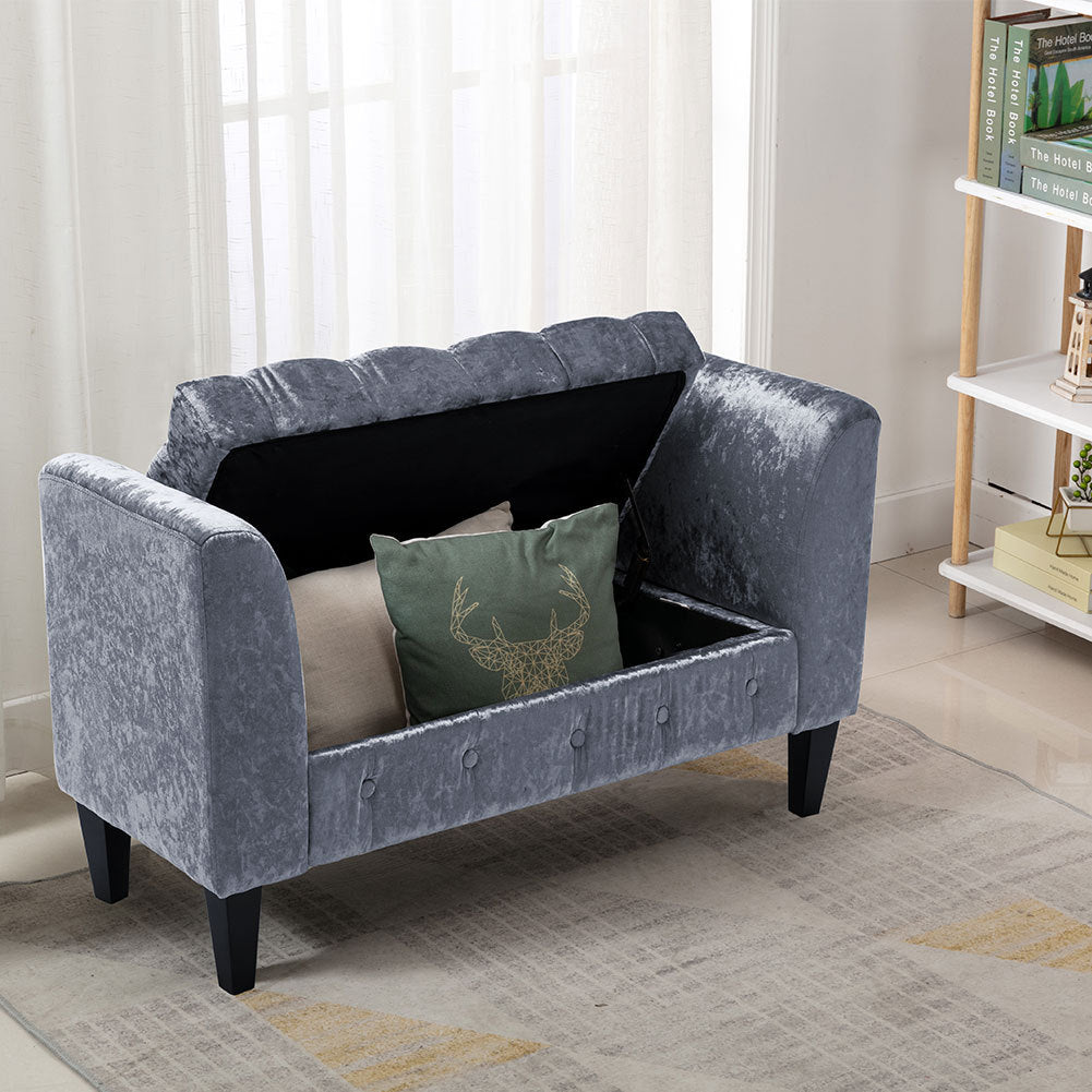 Upholstered Velvet Bed End Bench Tufted Storage Ottoman Chaise Scroll Arms