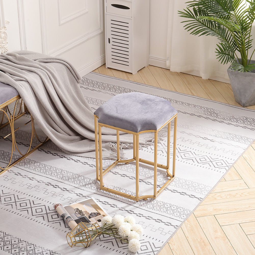 Velvet Uphostered Dressing Table Stool Minimalist Makeup Vanity Chair Geometric Legs