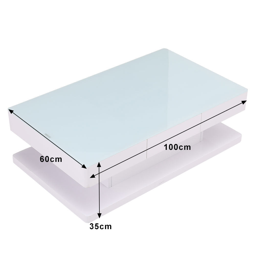 High Gloss Top Tempered Glass Coffee Table White Base End Table With 2 Drawers