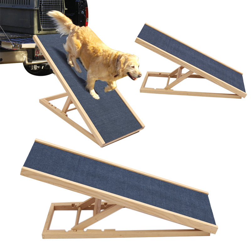 Pinewood Non-Slip Dog Ramp Ladder Adjustable Height Travel Car Bed