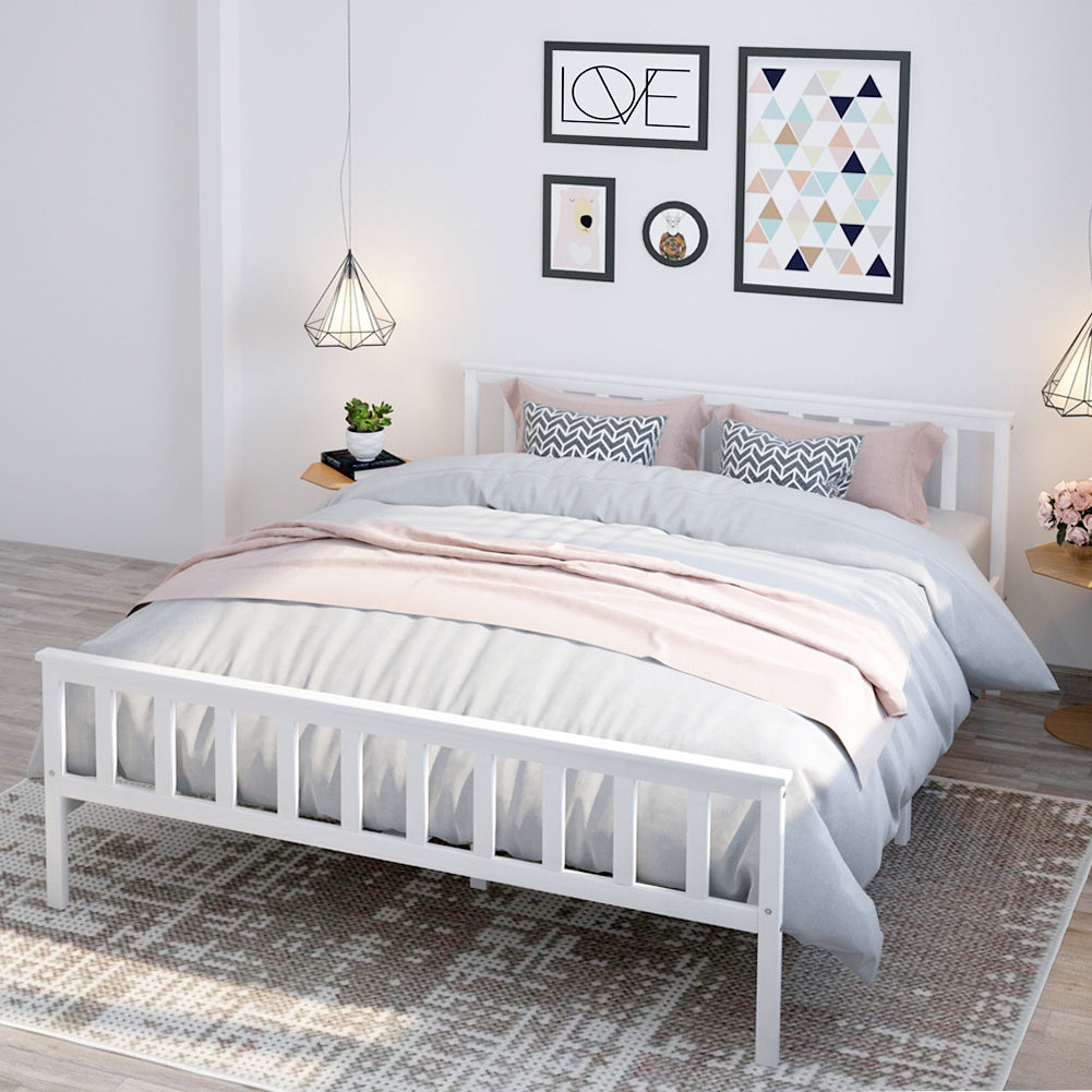 4ft6 Solid Pine Wood Double Size Bed Frame for Kids Adult Bedroom
