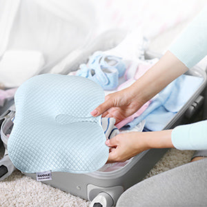 Bammax Baby Pillow Newborn, Flat Head Newborn Pillow, Baby Head Shaping Pillow, Soft Breathable Memory Foam Sleeping Pillow for Infant, Prevent Flat Head Symptom Head Support for 0-12 Month Baby, Blue