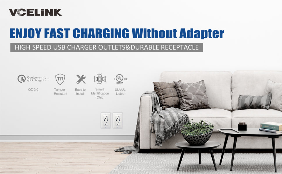 Quick Charge USB Wall Outlet
