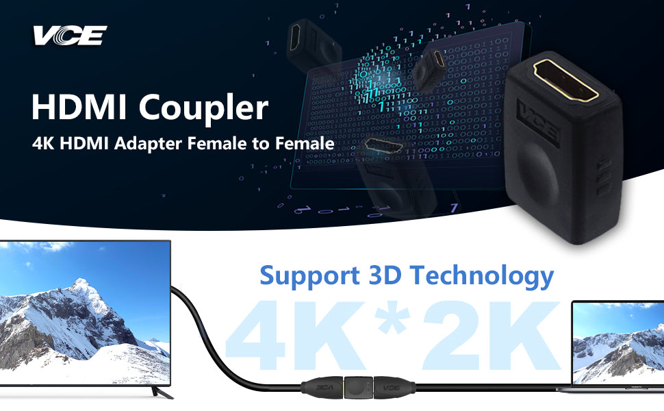 Female To Female Coupler Gold Plated High Speed HDMI Female Adaptor