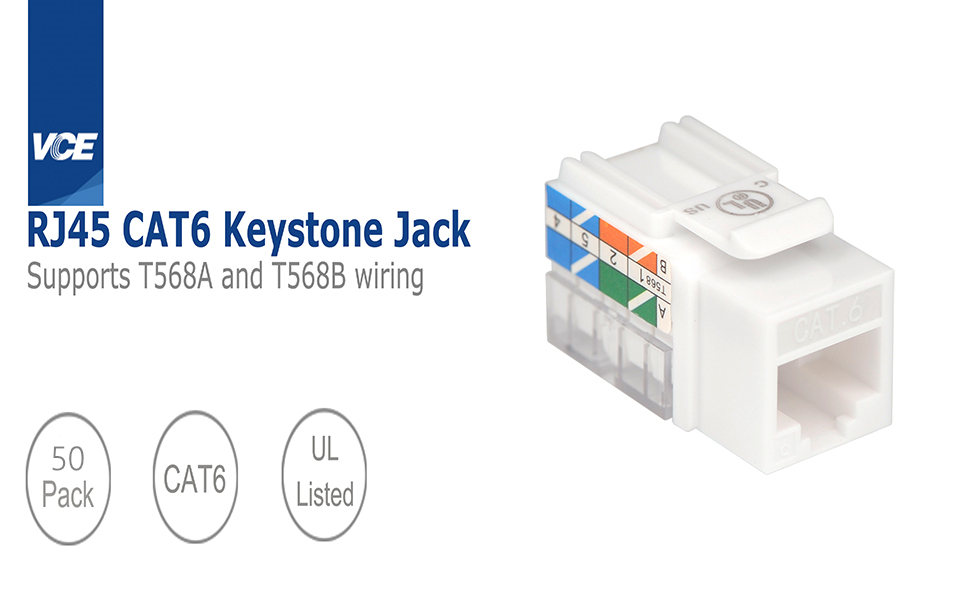 Cat6 RJ45 90-Degree Keystone Jack