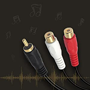 1 RCA (Male) to 2 RCA (Female) Stereo Audio Adapter