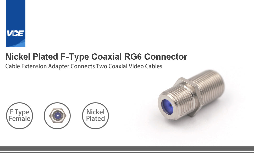 F Type RG6 Coax Cable Female to Female Connector