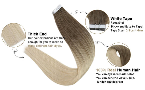 tape in hair extensions human hair 100g
