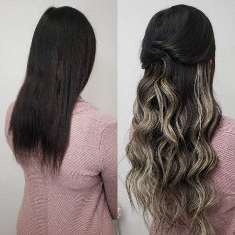 balayage tape in human hair extensions silver with blonde
