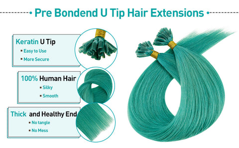 real human hair extensions teal color