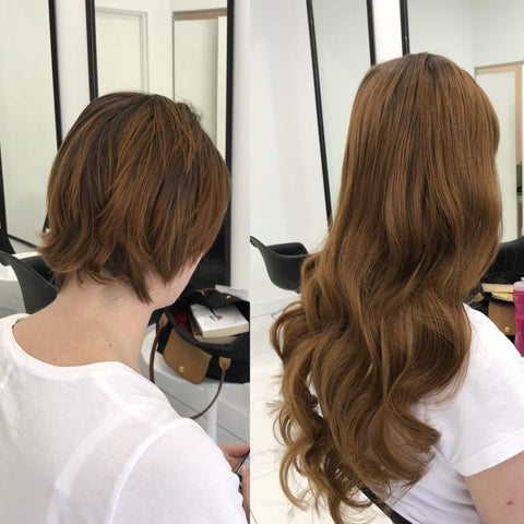 middle brown tape in human hair extensions