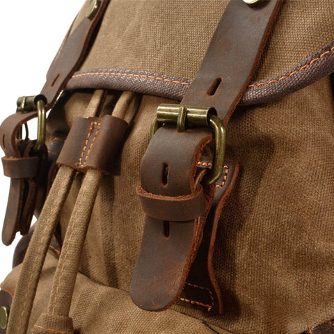durable canvas leather rucksack