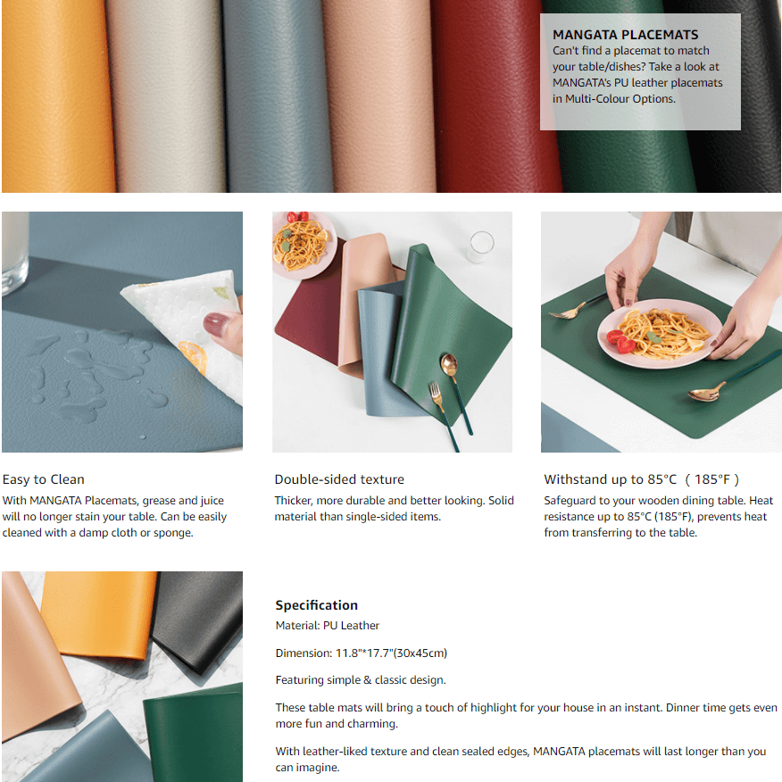 leather placemats set