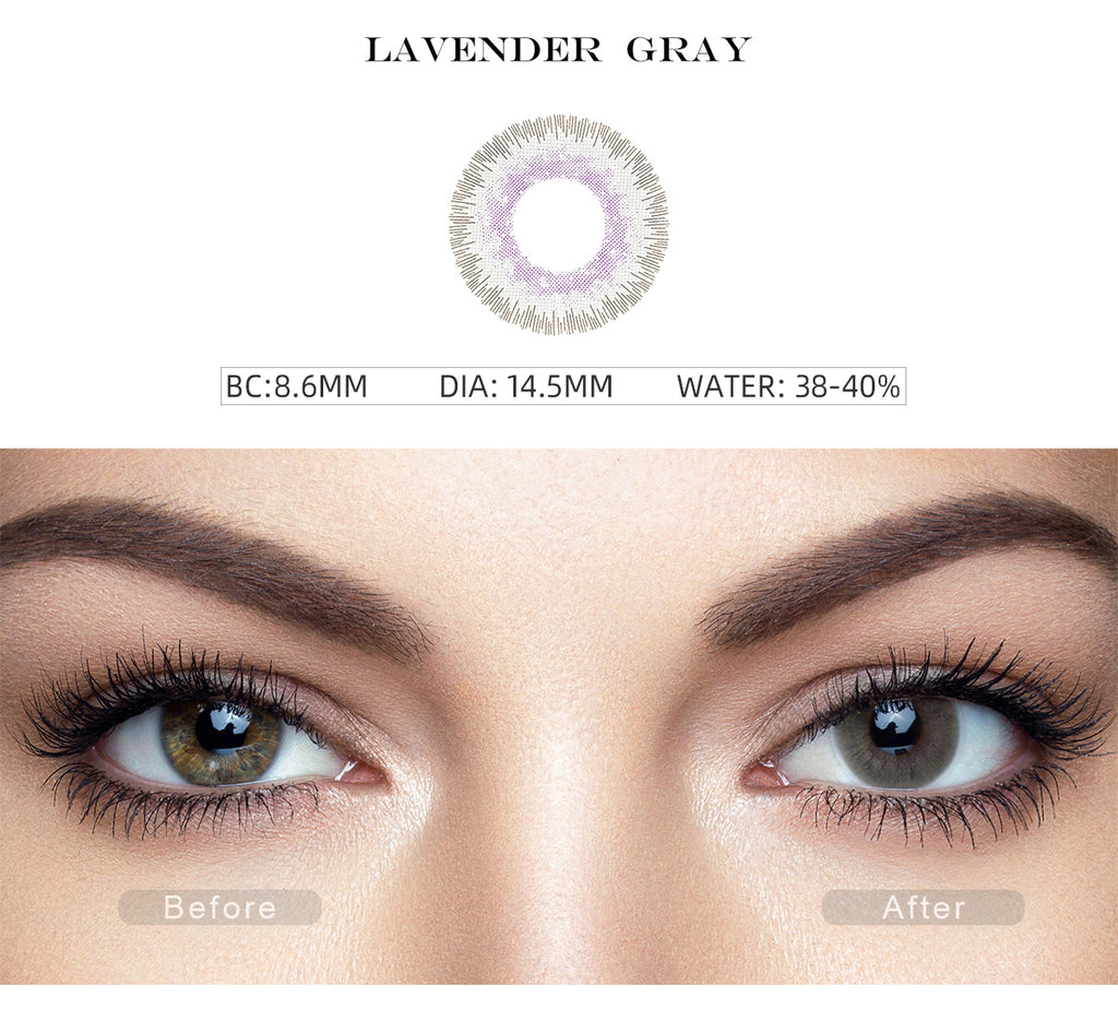 Elite Lavender Gray color contact lenses with before and after photo
