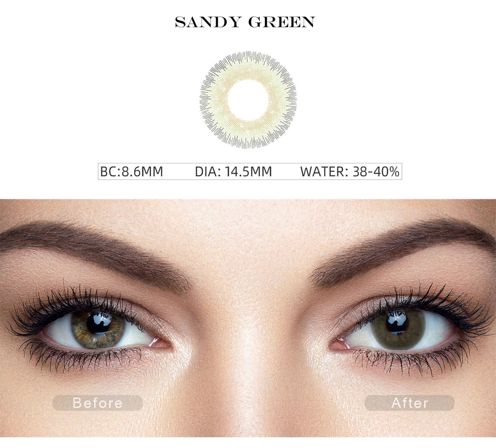 Elite Sandy Green contact lenses with before and after photo