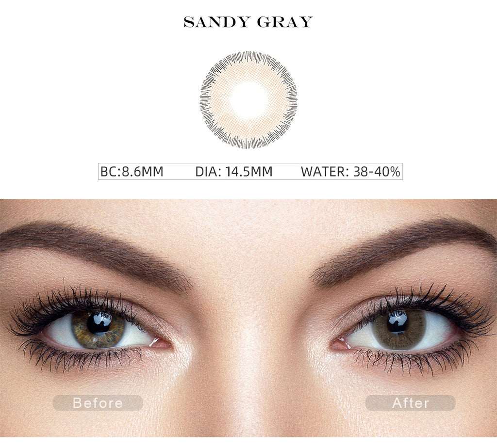 Elite Sandy Gray colored contacts with before and after photo
