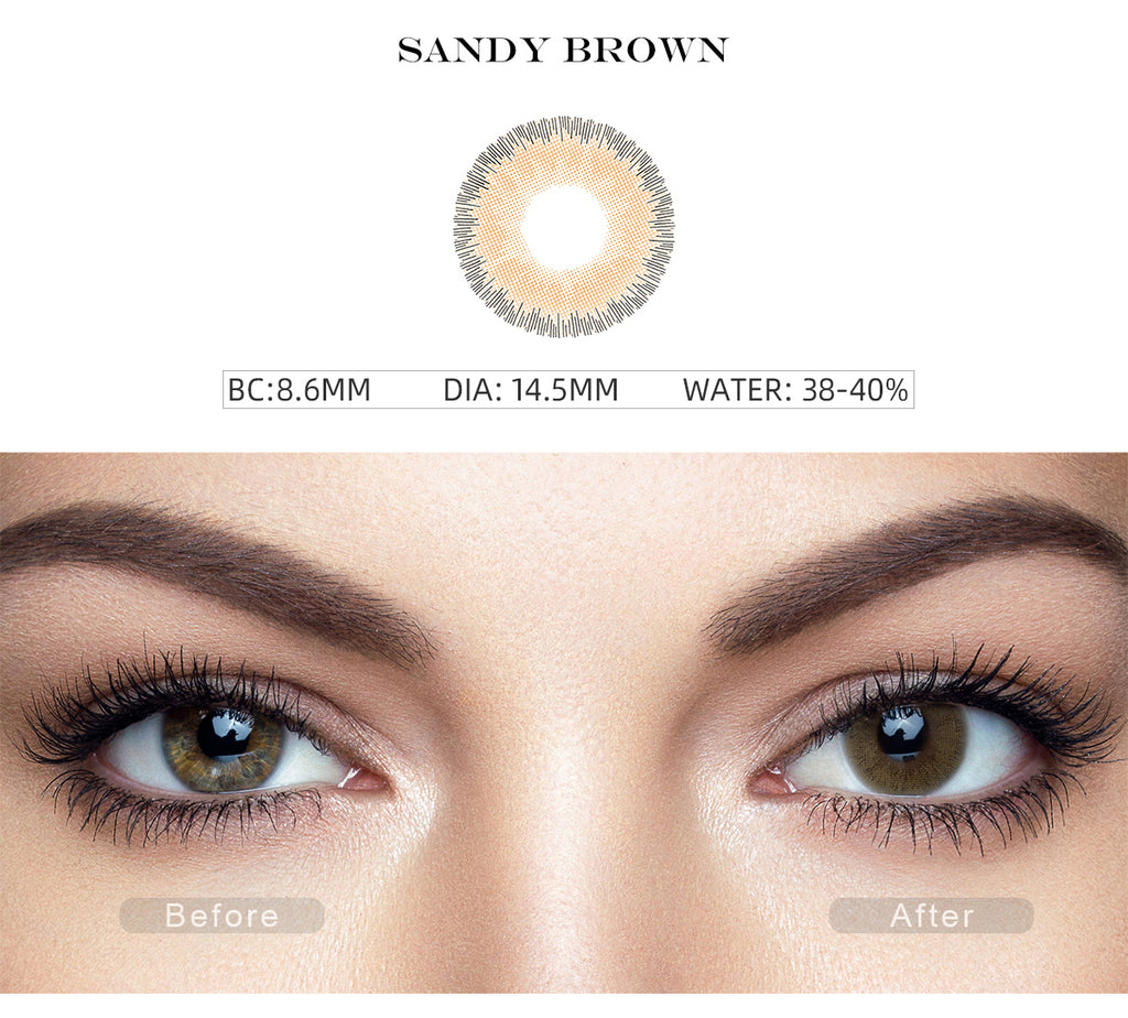 Elite Sandy Brown color contact lens with before and after photo