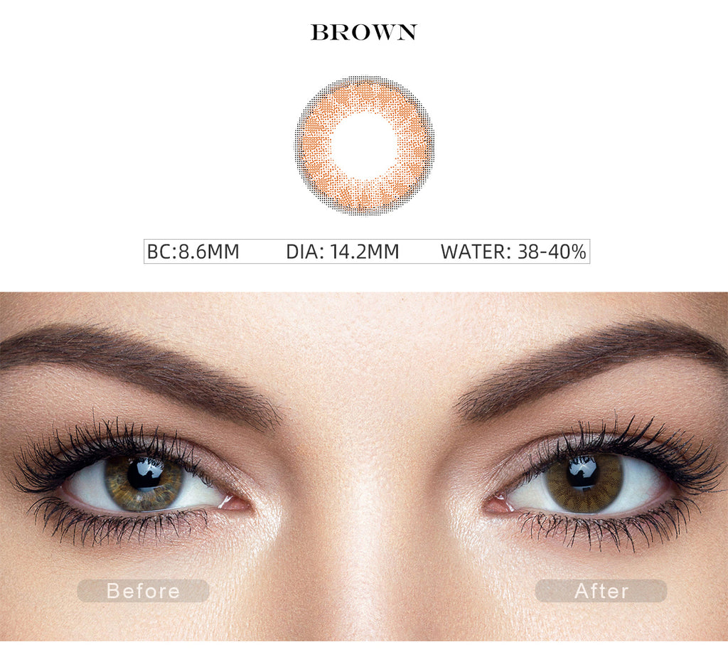 Glass Ball Brandy Brown colored contacts with before and after photo