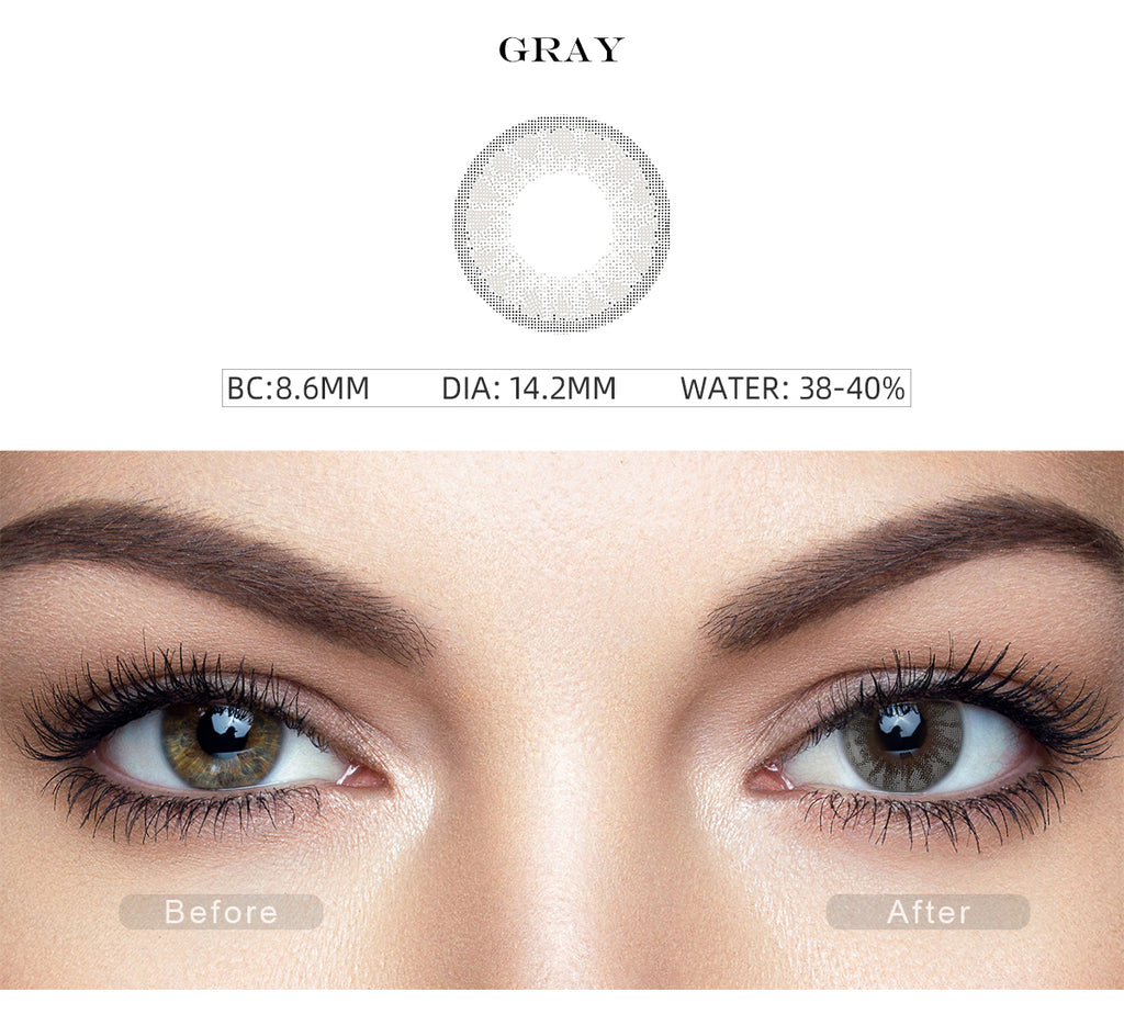 Glass Ball Silver Gray colored contact lenses with before and after photo
