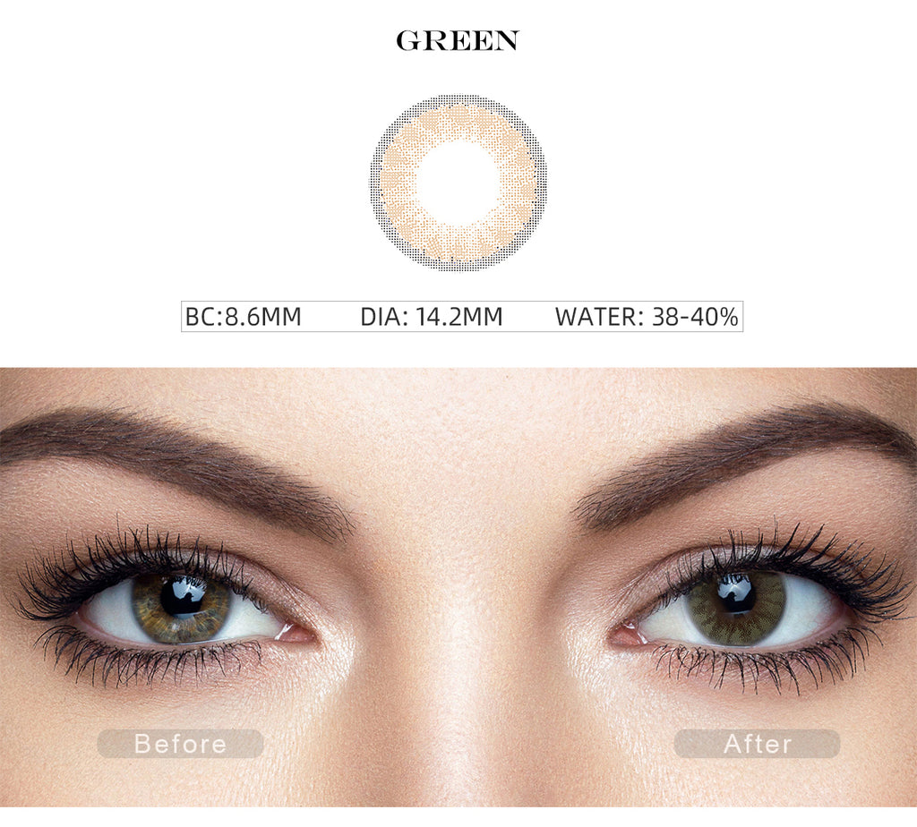 Glass Ball Yellow Green color contact lenses with before and after photo