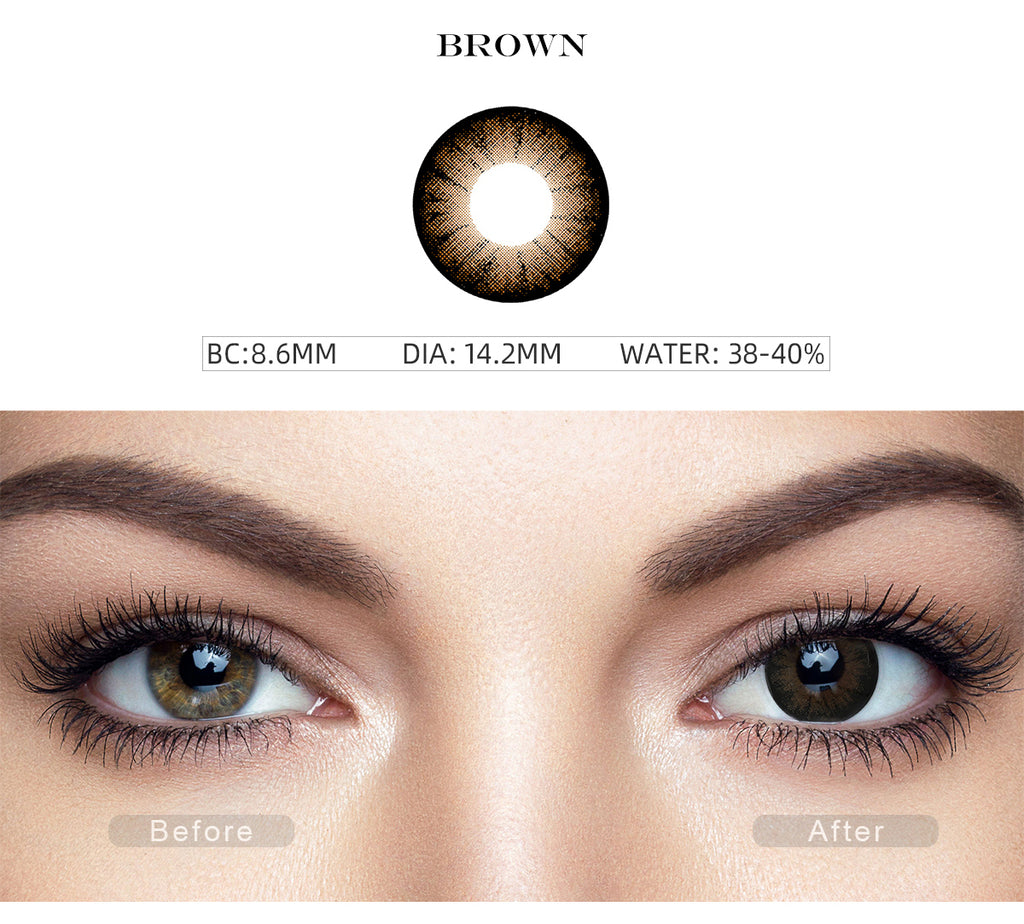 Glass Ball Chocolate Brown non prescription colored contacts with before and after photo