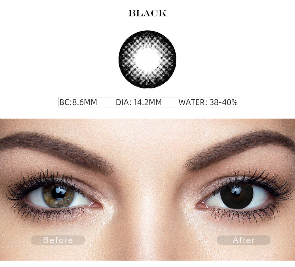 Glass Ball Black colored eye contacts with before and after photo