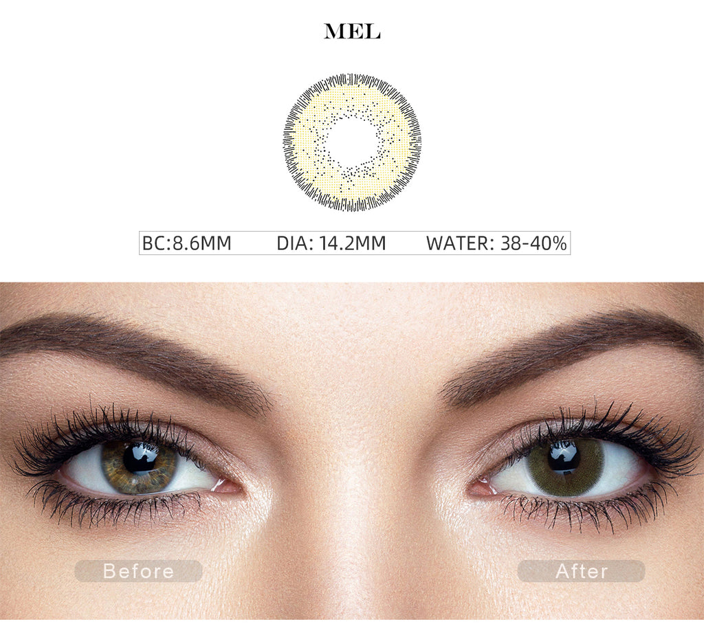 Nature Mel Green colored contact lenses with before and after photo