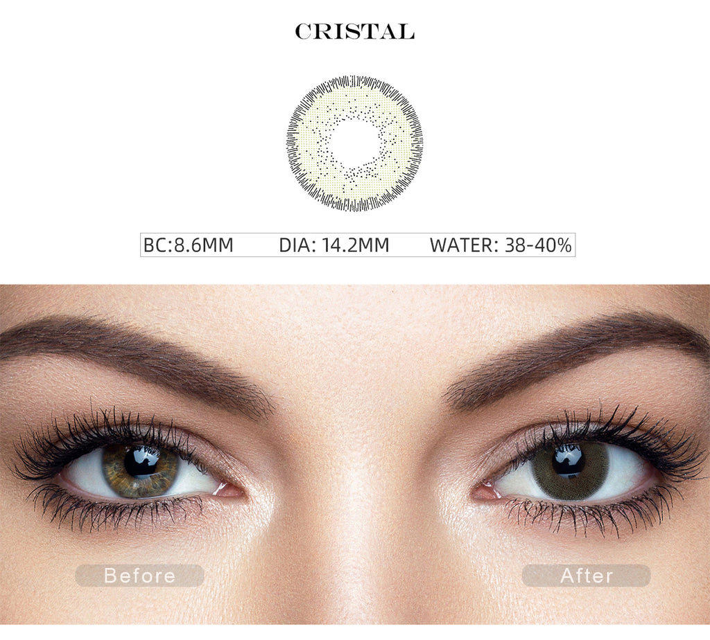 Nature Cristal Green color contact lenses with before and after photo