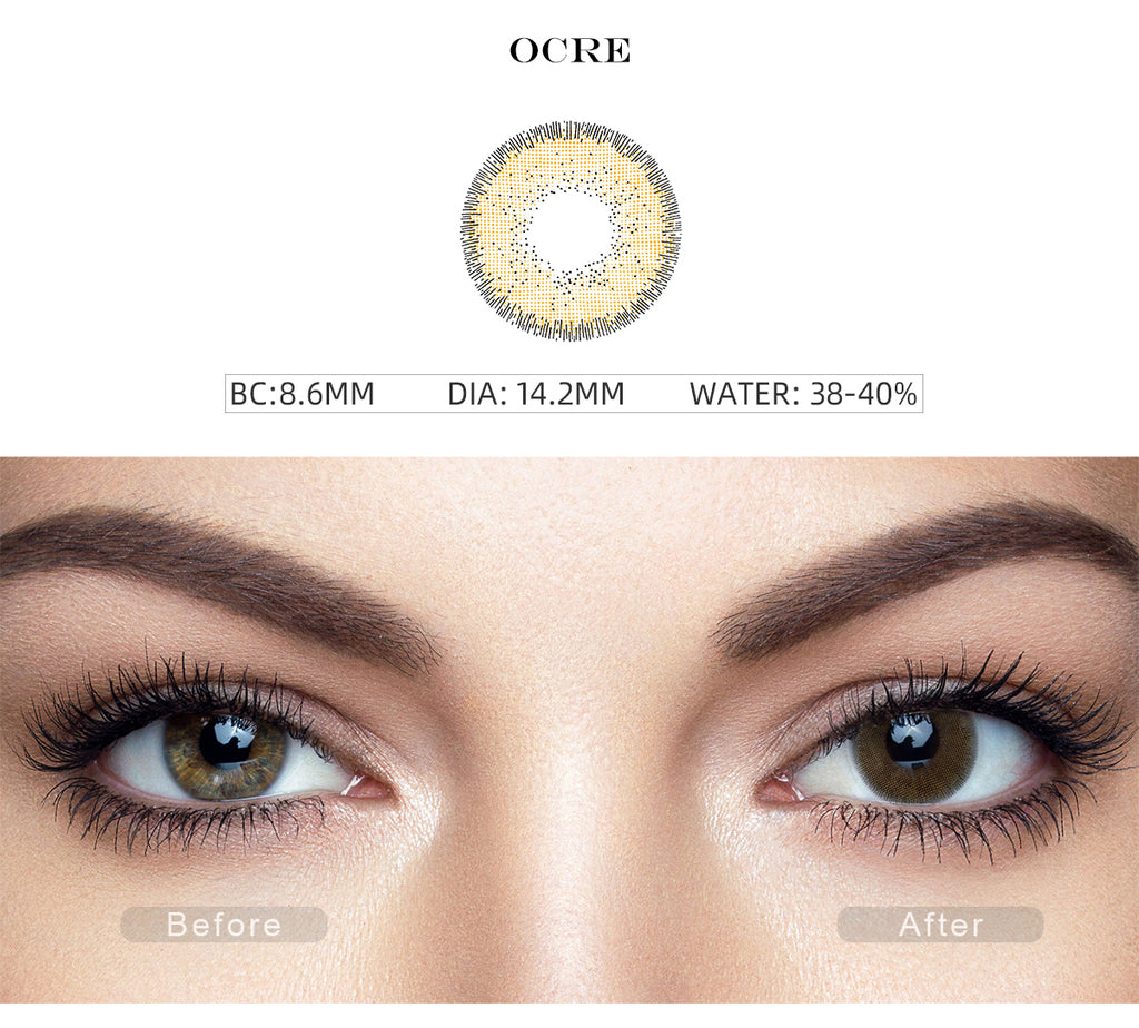 Nature Ocre Brown non prescription colored contacts with before and after photo