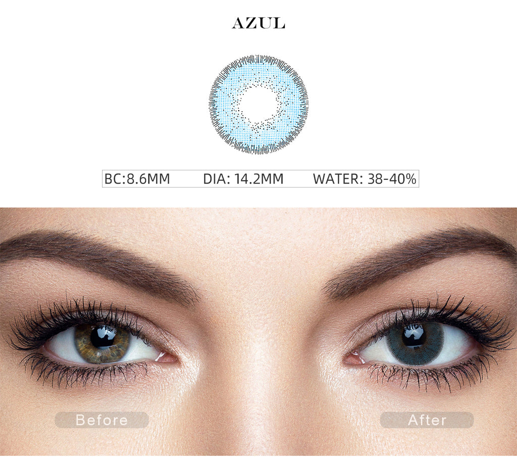 Nature Azul Blue costume contact lenses with before and after photo