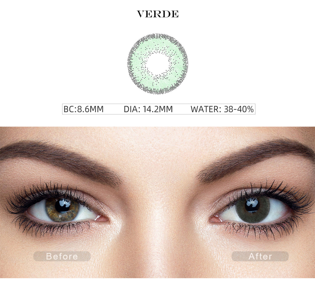 Nature Verde Green costume contact lenses with before and after photo