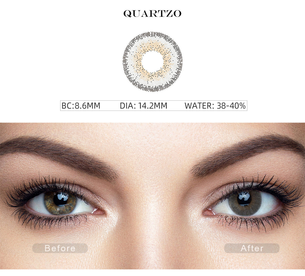 Natural Quartzo Gray colored contacts with before and after photo