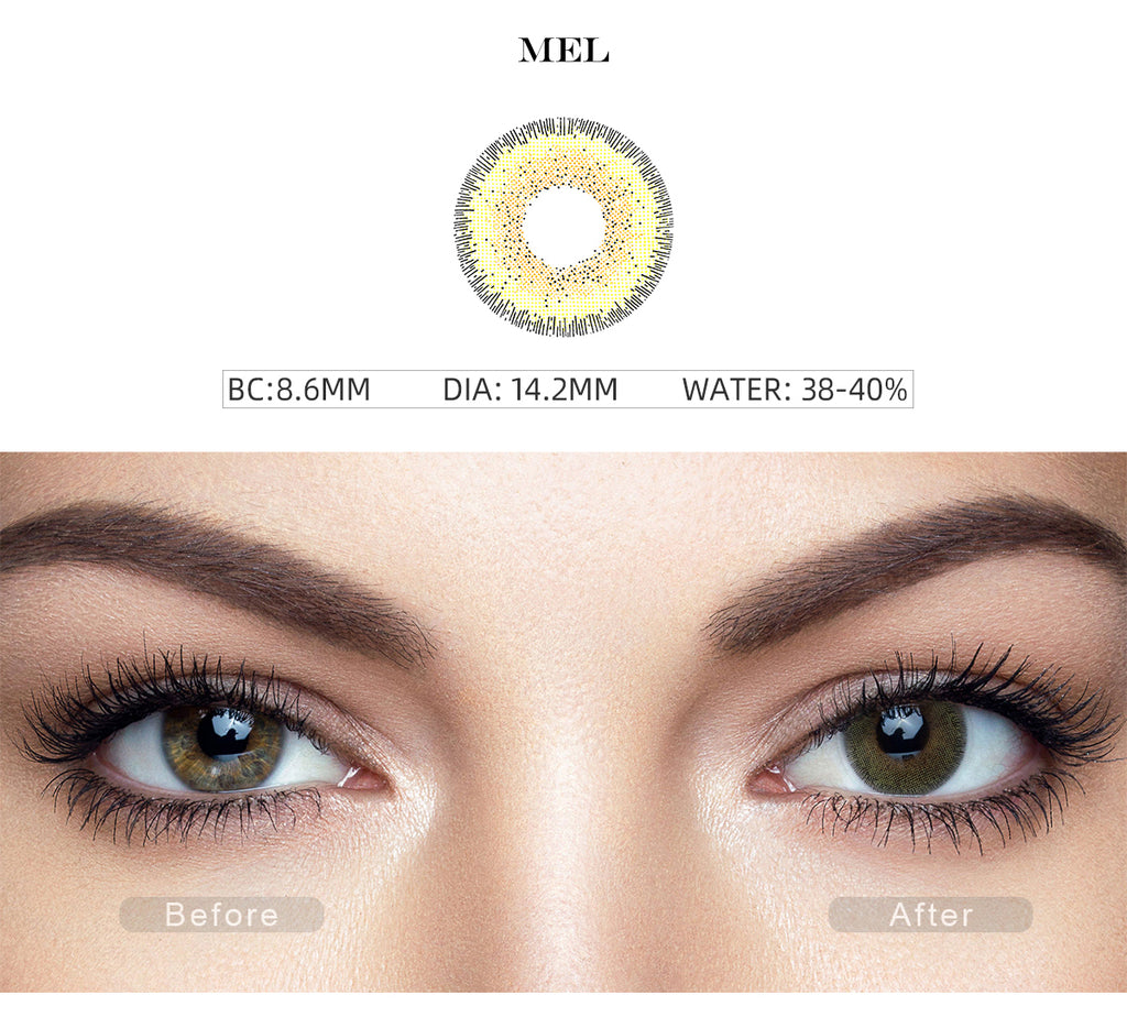 Natural Mel Yellow colored contact lenses with before and after photo
