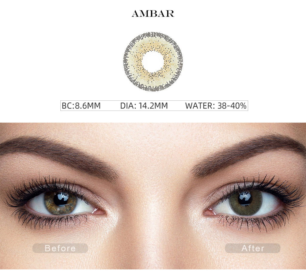 Natural Ambar Green color contact lenses with before and after photo