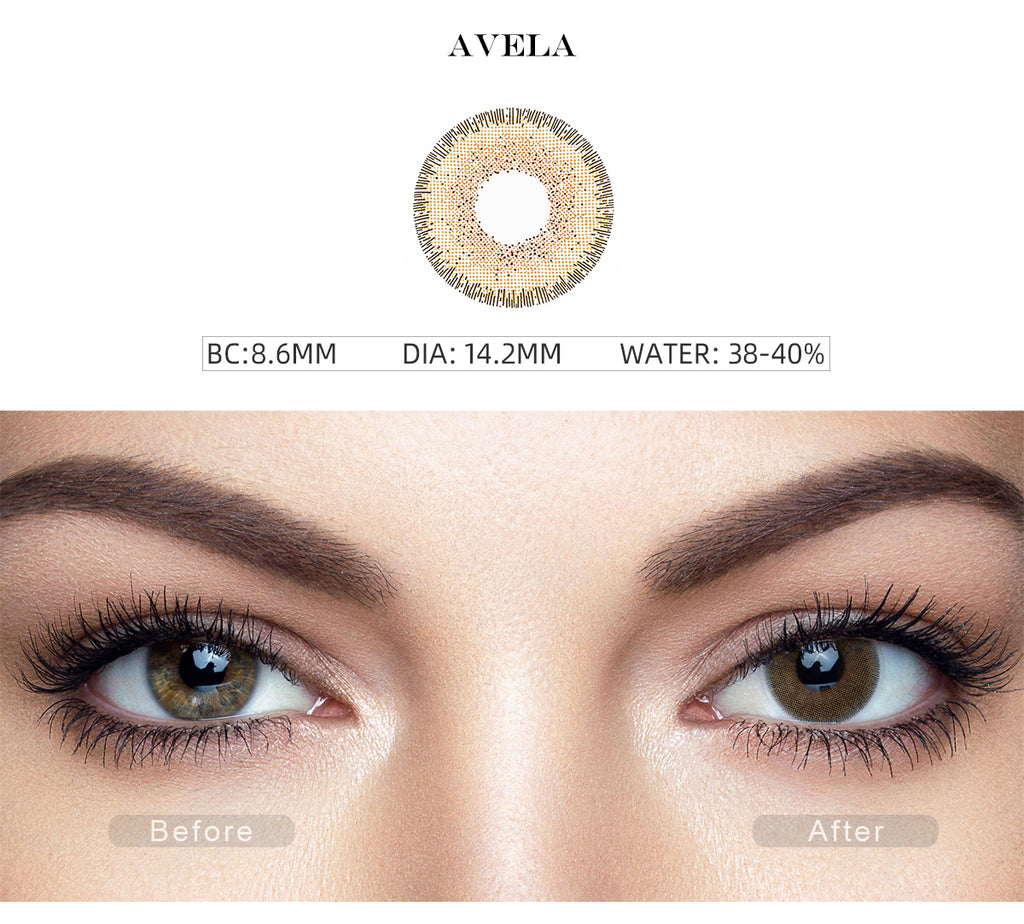 Natural Avela Brown non prescription colored contacts with before and after photo
