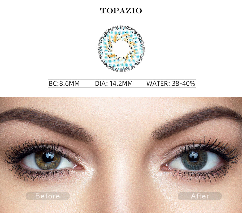 Natural Topazio Blue colored eye contacts with before and after photo