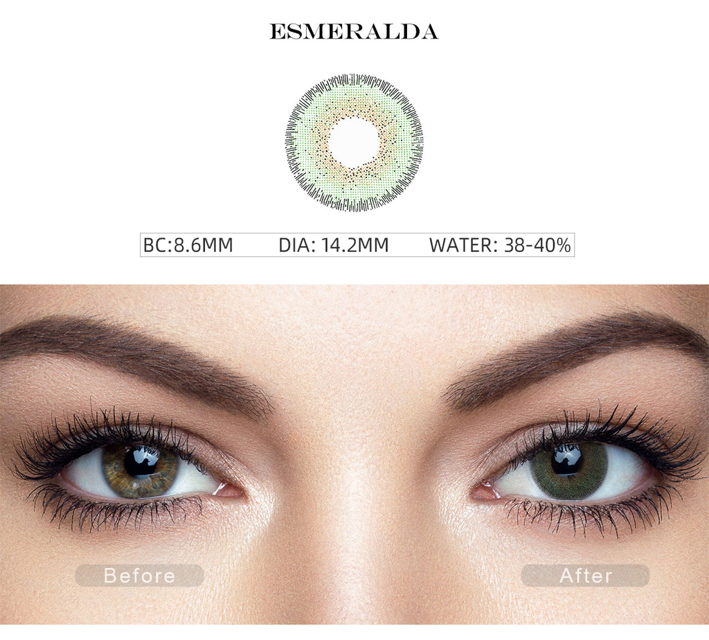 Natural Esmeralda Green contact lenses color with before and after photo
