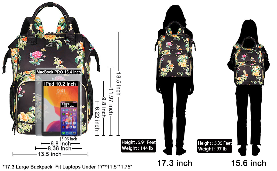 Matein Floral Lunch Box Laptop Backpack - travel laptop backpack