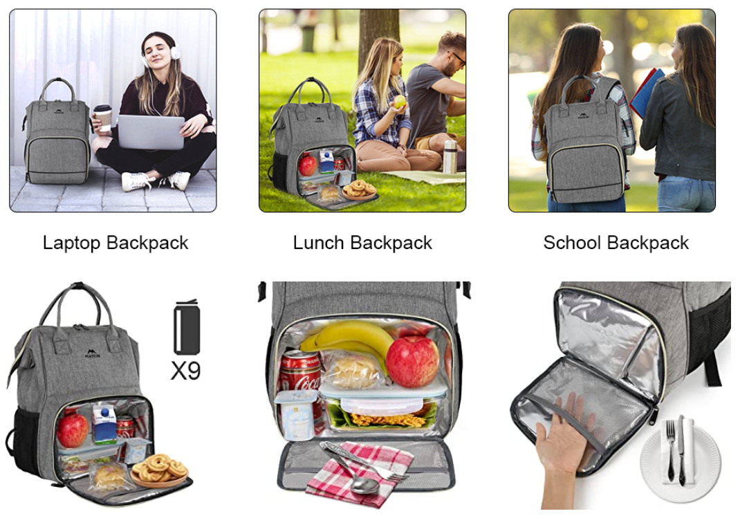 Matein Lunch Box Laptop Backpack - travel laptop backpack