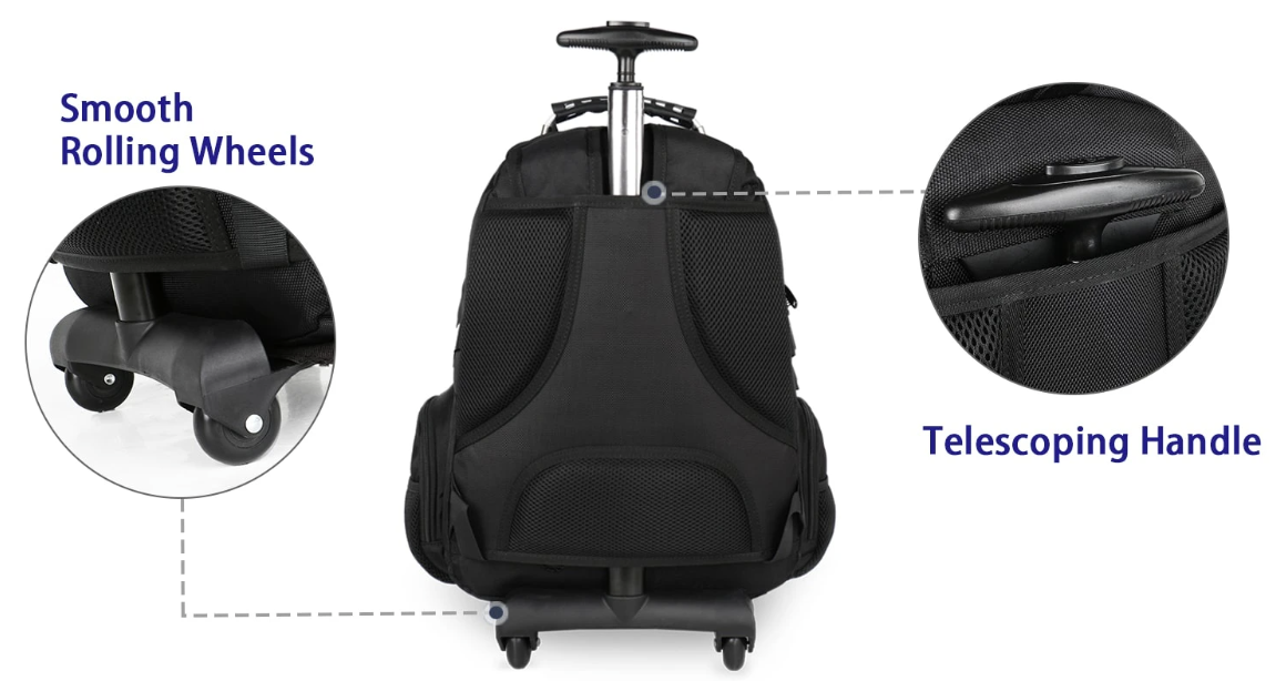 matein wheeled backpack|rolling backpack for 15.6 inch laptop