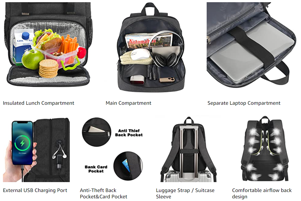 Matein Charcoal Black Bookbag With Lunch Box