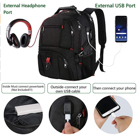 the best laptop backpack for travel with an earphone hole and USB charging port