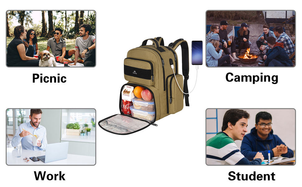Matein heavy duty backpack with lunch box - lunch backpack