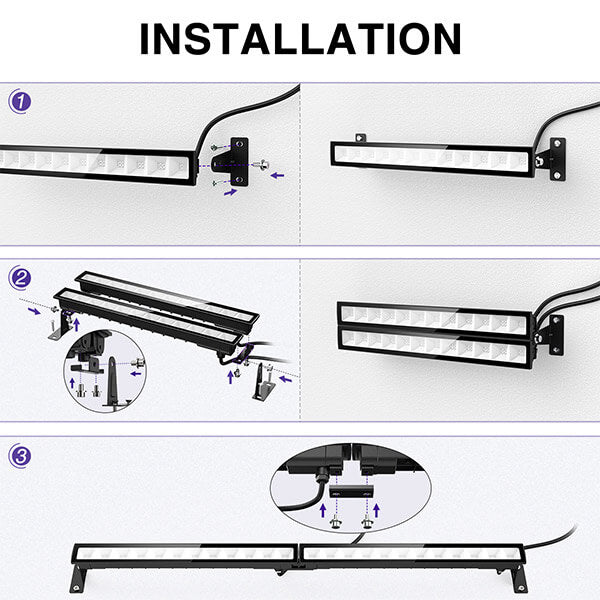 4 Pack 24W LED UV Black Light Bar with 5ft Power Cord, IP66 Waterproof Blacklight with Plug and Switch.